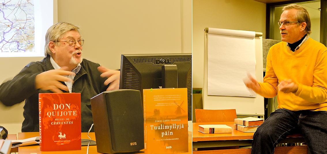 Esitelmöitsijä Jyrki Lappi-Seppälä keskustelussa HespañAn puheenjohtajan Risto Kankaan kanssa.